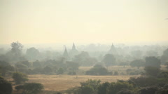 Plane Aircraft Buddhist Temples Old Bagan Myanmar Stock Footage
