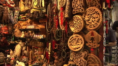 Chinese decorative wood carving crafts Stock Footage