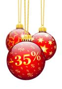 Thirty Five Percent, 35% - Price Reduction Red Christmas Baubles - X-Mas Ball Stock Illustration