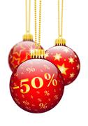 Fifty Percent, 50% - Price Reduction Red Christmas Baubles - X-Mas Ball - stock illustration