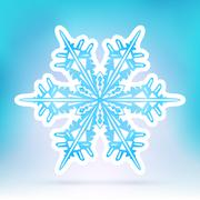Abstract Snowflake Symbol with Ice Blue Background Gradient - stock illustration