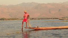 Inle Burma Fisherman Boat Stock Footage