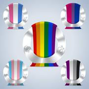 Sexual orientation badges with flag ribbons - stock illustration