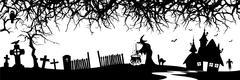 Abstract Halloween Panorama Banner - Silhouette - stock illustration
