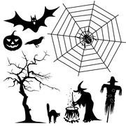 Stock Illustration of Halloween Silhouette Collection Set - Black Shapes