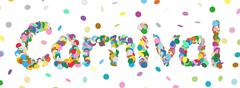 Abstract Confetti Word - Carnival Letter - Colorful Panorama Vector Illustrat Stock Illustration