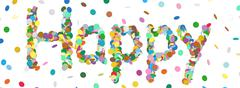 Stock Illustration of Abstract Confetti Word - Happy Letter - Colorful Panorama Vector Illustration