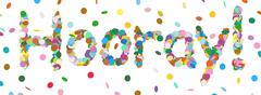 Abstract Confetti Word - Hooray Letter - Colorful Panorama Vector Illustratio Stock Illustration