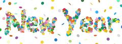Abstract Confetti Word - New Year Letter - Colorful Panorama Vector Illustrat - stock illustration