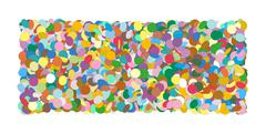 Abstract Colourful Horizontal Vector Confetti Heap Formed as Rectangle Banner - stock illustration
