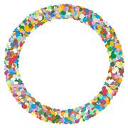 Colourful Round Abstract Frame with Free Text Area - Formed of Confetti Piirros