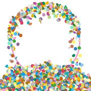 Stock Illustration of Abstract Colourful Round Shaped Text Panel with Confetti Snippets