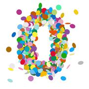 Abstract Colorful Vector Confetti Number Zero - Null - 0 - stock illustration
