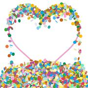 Stock Illustration of Abstract Colourful Heart Shaped Text Panel with Confetti Snippets