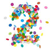 Abstract Colorful Vector Confetti Number Two - 2 - stock illustration