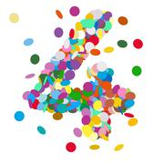 Abstract Colorful Vector Confetti Number Four - 4 - stock illustration
