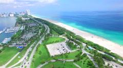 Miami Beach panorama aerial video Stock Footage