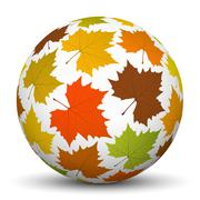 White Sphere with Mapple Leaf Texture - Autumn Vector Stock Illustration