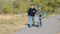 Father and son are on the alley in autumn park - stock footage