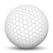 White 3D Sphere with Honeycomb Texture Stock Illustration