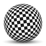 3D Sphere with Checkerboard Texture Pattern - stock illustration