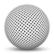 3D Sphere with Dotted Texture Pattern Stock Illustration