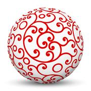 White 3D Sphere with Red Aesthetic Ornament Texture Pattern - stock illustration