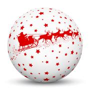 White 3D Sphere with Red Starlets and Santa Claus with Reindeer Sled - stock illustration
