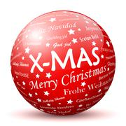Red 3D Sphere with Mapped White X-MAS Texture - stock illustration