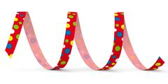 Red Vector Paper Streamer with Colored Dots - Blow Out Stock Illustration
