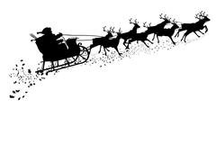 Santa Claus with Reindeer Sleigh - Black Silhouette. - stock illustration