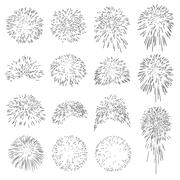 Collection of Vector Firework Rocket Explosion Sparks - Set - stock illustration