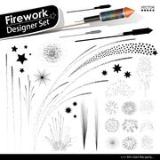 Collection of Vector Firework Rocket Explosion Effects - Design Templates Set - stock illustration