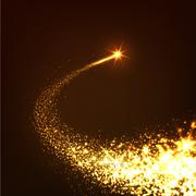 Abstract Bright Golden Falling Star - Shooting Star with Twinkling Star Trail - stock illustration
