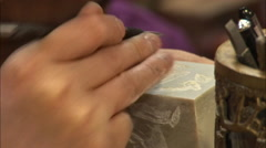 Carving jade seal, Chinese craft, Beijing Stock Footage