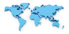 Stock Illustration of Detail world map, 3d render