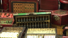 Chinese mahjong boxes, Beijing Silk Market Stock Footage