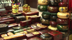 Lacquerware wooden boxes, China crafts Stock Footage