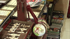 Chinese rattle-drum, Beijing market Stock Footage