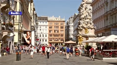 Tourists Visiting And Shopping On Graben Street Stock Footage