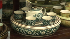 Chinese porcelain tea set, teapot & teacups Stock Footage