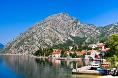 Village Orahovac. Kotor bay, Montenegro, Adriatic sea - stock photo