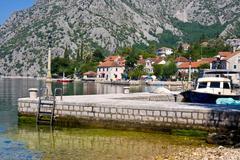 Village Orahovac. Kotor bay, Montenegro, Adriatic sea Stock Photos