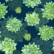 Watercolor Succulent Pattern on Blue Background - stock illustration