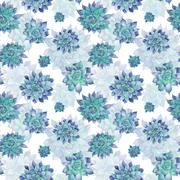 Blue Watercolor Succulent Pattern - stock illustration