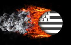 Stock Illustration of Flag with a trail of fire - Brittany