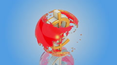 Dollar as axis of the world. Loop animation. Stock Footage
