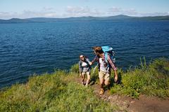 Ascending tourists Stock Photos