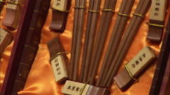 Decorative Chinese chopsticks, China - stock footage