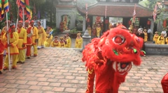 people dance lion in festival, Asia - stock footage